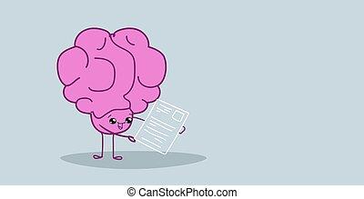 human brain hr manager analyzing resume curriculum vitae recruitment candidate job position concept pink cartoon character kawaii style horizontal sketch hand drawn