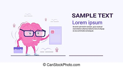 human brain hr manager holding resume curriculum vitae recruitment candidate job position concept pink cartoon character kawaii style horizontal sketch copy space