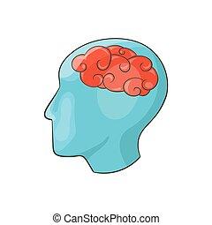 Human brain icon, cartoon style