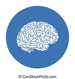 Human brain icon in black style isolated on white background...