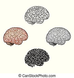 Human brain icon in cartoon, black style isolated on white ...