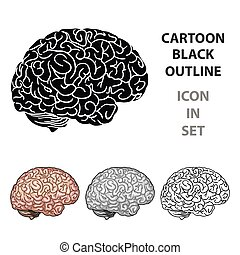 Human brain icon in cartoon style isolated on white ...