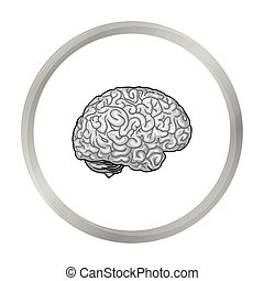 Human brain icon in monochrome style isolated on white ...