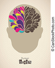 human brain - Illustration of silhouette of man with brain,...
