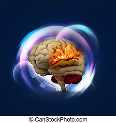 Human brain in abstract background