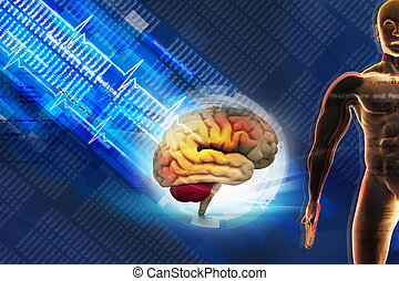 Human brain in abstract medical background