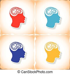 Human brain in head. Flat sticker with shadow on old paper