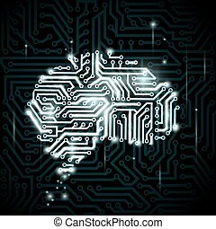 Human brain in the form of circuits.