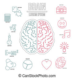 Human brain infographics set, outline style