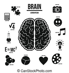 Human brain infographics set, simple style