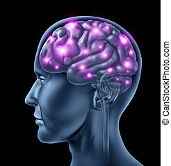 Human brain intelligence with an anatomical medical symbol of a head with neuronsfiring and glowing showing neurological function related to memory and mental health and medicine.