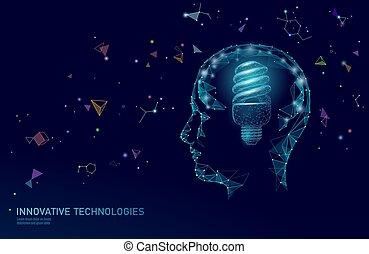 Human brain IQ smart business concept. Fluorescent lamp...