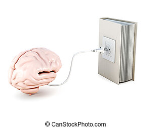 Human brain is recharged from the book. 3d rendering