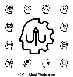 Human, brain, learning, pen flat vector icon in mind process pack
