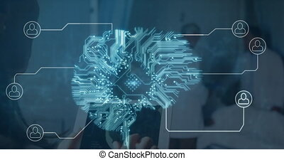 Human brain made of microprocessor and network of connection icons against two male doctors discussing and mid section of person using digital tablet in hospital. medicine research science and global networking concept