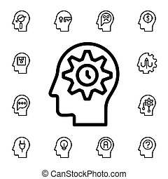 Human, brain, management, time flat vector icon in mind process pack