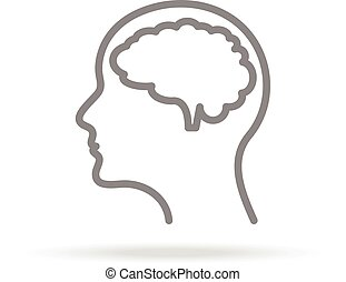 Human Brain, Neurology Icon In Trendy Thin Line Style Isolated On White Background. Medical Symbol For Your Design, Apps, Logo, UI. Vector Illustration.