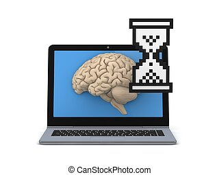 Human brain on a screen of laptop.