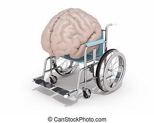 human brain on a wheelchair