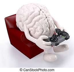 brain on armchair with arms, legs and game controller -...