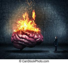 Human brain on fire