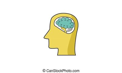 Human brain on head silhouette HD definition