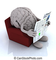 human brain reading a newspaper from the couch, 3d...