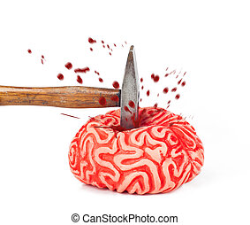 Human brain rubber with hammer blow and blood spill