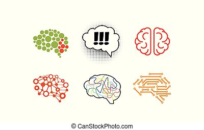 Human brain set, bright creative idea symbols vector Illustration on a white background