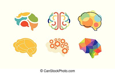 Human brain set, thinking or mind bright sign, colorful creative idea symbols vector Illustration on a white background