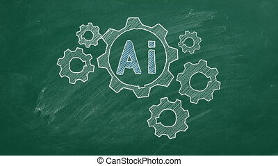 Human brain shape from rotating  gears on blackboard. Artificial intelligence concept.