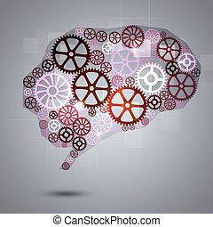 Human Brain Shape Gears Business Background