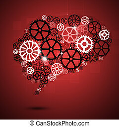Human Brain Shape Gears Red Business Background