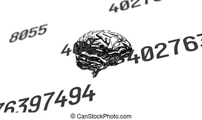 Human brain spinning against multiple changing numbers on white background. medical research and technology concept