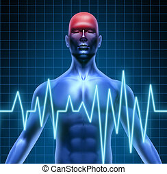 Human body with a head ache of the brain with a migrain and stroke accident caused by poor circulation representing neurology with heart blood health problems.