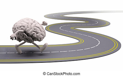 human brain that runs in the street, 3d illustration