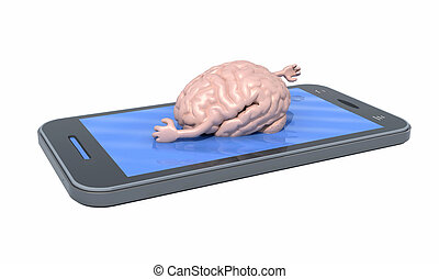 brain that swims on the screen of the smartphone - human...