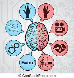 Human brain - Background with human brain and signs. eps10