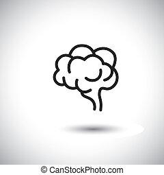 human brain vector icon on white background