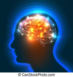 Human Brain - Vector Illustration of a Human Head Silhouette...
