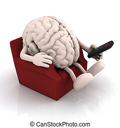 human brain watching television from the couch with remote...