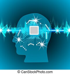 Human brain with a microcircuit in the head, concept of working with a pulse band with Glowing Lights, Sound waves oscillating glow , robot technology background , vector illustration