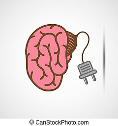 Human brain with an electric plug. Stock vector illustration...