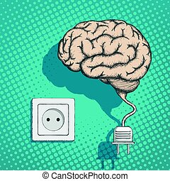 Human brain with an electrical plug and socket.