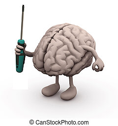 human brain with arms and legs and screwdriver on hand,