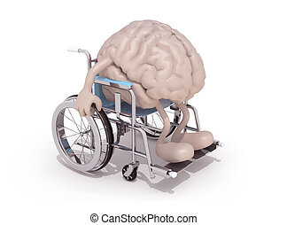 human brain with arms and legs on a wheelchair