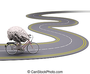 human brain with arms and legs on bicycle on the road