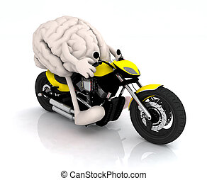 human brain with arms and legs on the motorbike