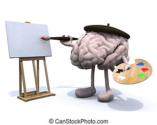 human brain with arms and legs, painter with brush and easel