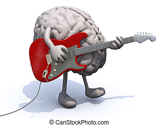 human brain with arms and legs playing a guitar, learning...